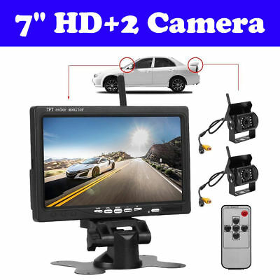 "7"" HD Monitor+ 2X Wireless Rear View Backup Camera Night Vision For RV Truck Bus"