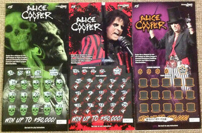 Complete set of 3 Alice Cooper Arizona Lottery scratcher tickets USED NO VALUE