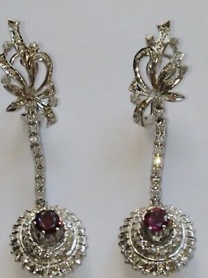 VIntage  Deco Palladium and Gold Ruby and  0.80 CT.Diamonds Earrings