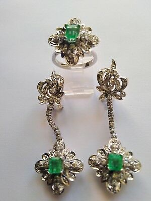 Vintage Deco Palladium and Gold  Emerald  Diamonds Chandelier Earrings and Ring