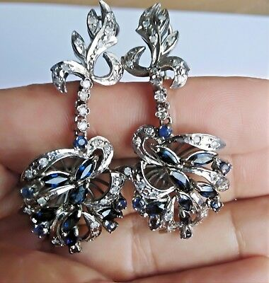 Vintage Deco Stunning Sapphires and Diamonds Palladium Chandelier Earrings