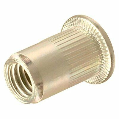 Fifty (50) 1/4-20 UNC Rivet Nuts - Zinc Plated Carbon Steel Flat Head Threaded I