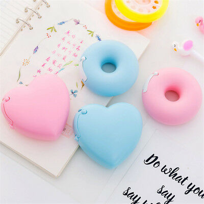 Heart Donut Shape Tape Dispenser Cutter Holder+1 Roll Adhesive Tape Sticker Cool