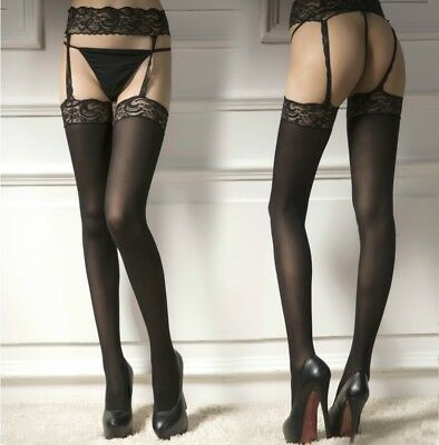 Lace Edge Silk Sheer Crotchless Suspender Garter Stockings Pantyhose Tights 7042