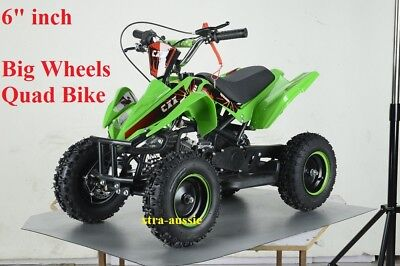 "49Cc Starter Mini Quad Bike 6"" Wheel Atv Buggy Kids 4 Wheeler Pocket Dirt Green"
