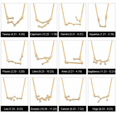 12 Zodiac Constellation Sterling Silver Zircon Pendant Necklace Chain Jewelry