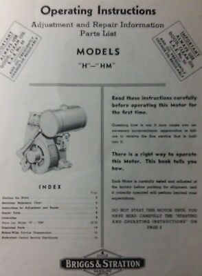 "Briggs Stratton model ""H"" HM Engine Motor Owner, Parts & Service Repair Manual"