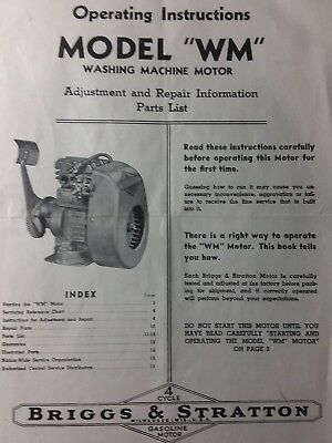 Briggs Stratton WM Washing Hit Miss Engine Owner, Parts & Service Repair Manual