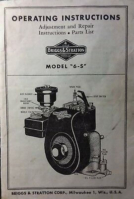 "Briggs Stratton model ""6S"" Engine Motor Gas Owner & Parts Manual Lawn Mower db"