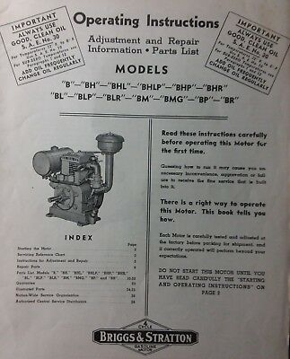 Briggs Stratton model B BH BR Engine Motor Owner, Parts & Service Repair Manual