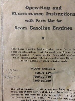 Sears 500.301109 Briggs Stratton WI Engine Owner, Parts & Service Repair Manual