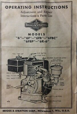 Briggs Stratton model 6 6F 6FB 6R-6 Engine Owner, Parts & Service Repair Manual