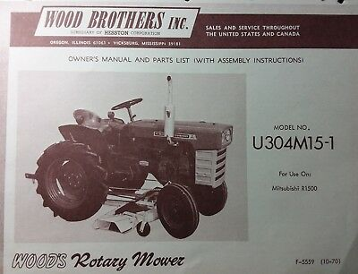Mitsubishi R1500 Tractor Woods Rotary Mower Deck Owner & Parts Manual U304M15-1