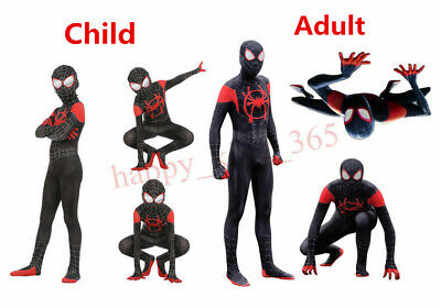 Spider Man Into the Spider Verse Costume Kids Miles Morales Cosplay Suit UK