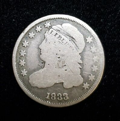 1833 Capped Bust Dime Silver Coin