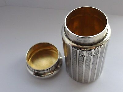 Large Fully Solid Silver Cylinder Container Pot London 1912 George Neal 99 Grams