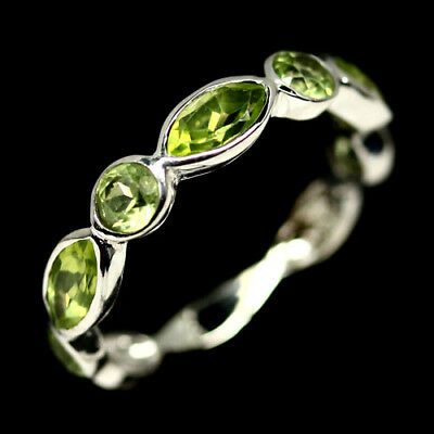 Natural Green Peridot Ring 925 Silver Sterling White Gold Plated Sz6.25