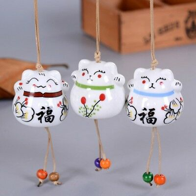 Cute Ceramic Wind Bell Small Fortune Cat Pendant Wind Chime Hang Decor Home Tool