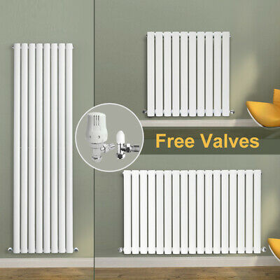 Horizontal Vertical Radiator Oval Column Tall Central Heating White with Valves