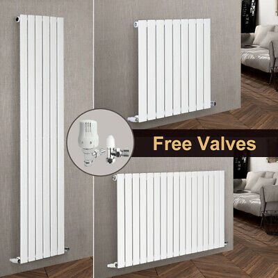 White Vertical Horizontal Flat Panel Designer Radiator Tall Upright with Valves