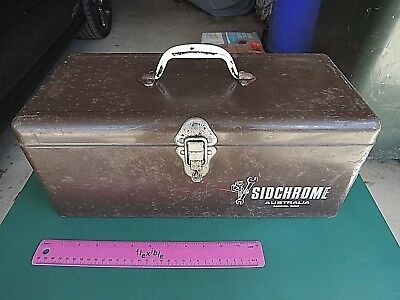 Rare Vintage Sidchrome Australia Brown Toolbox. Holden Ford Spanners Old Tools.