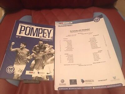 Portsmouth V AFC Wimbledon 2019 Sky Bet League One Programme & Team Sheet