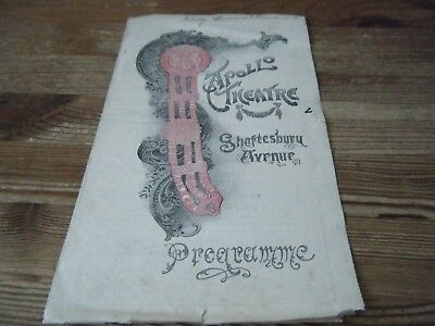 1916   Theatre  Programme  -  A  Pierrot's  Christmas     Apollo  Theatre   Vgc