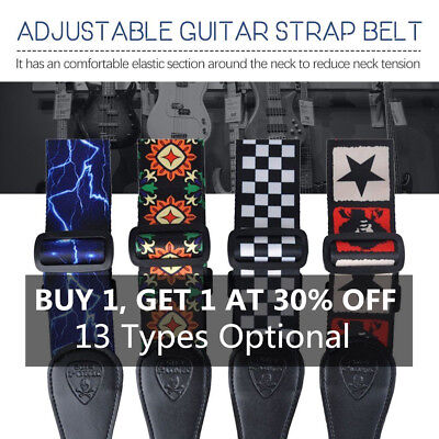 64'' Adjustable Guitar Strap Acoustic Bass Webbing Leather Ends High Quality N