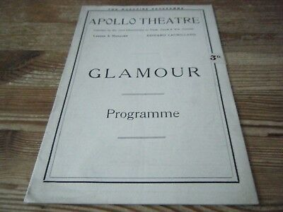 1922    Theatre  Programme  -  Glamour    -  Apollo  Theatre    London    Vgc