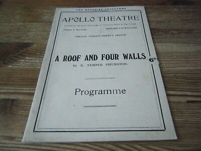1923    Theatre  Programme  -  A Roof And Four Walls -   Apollo  Theatre   Vgc