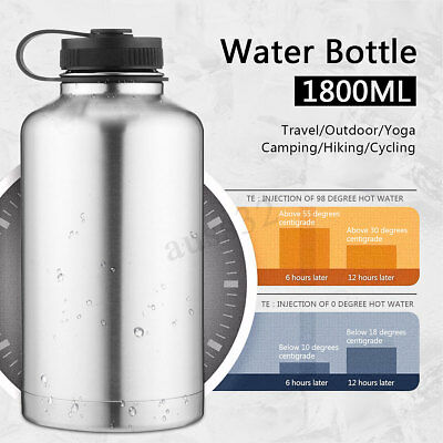 1.8L Stainless Steel Water Bottle Travel Outdoor Cycling Camping Cup Insulated