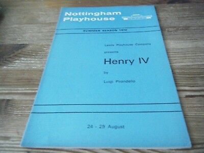 1970    Theatre  Programme  -  Henry Iv   -   Nottingham Playhouse   Vgc