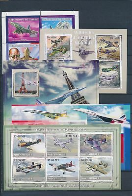 AB7-2306 World aviation aircraft airplanes fine lot of sheets MNH