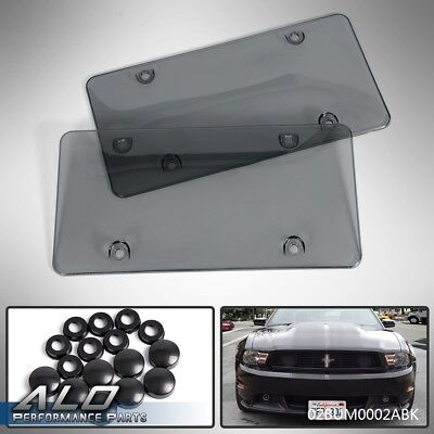 2 x Tinted- Smoke License Plate Tag Frame Cover Shield Car Truck
