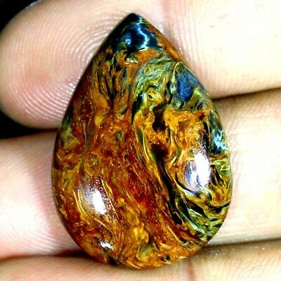 Natural Golden Pietersite Chatoyant Pear Cabochon 31.15 Cts Loose Gemstones