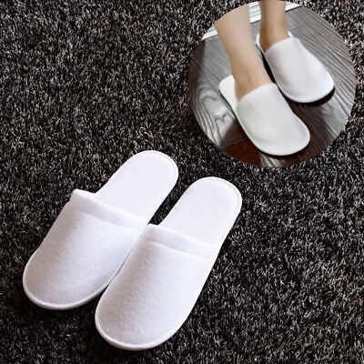 5/10/20/50/100 Pairs Unisex White Towelling Hotel Slippers Spa Shoes Disposable