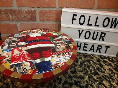 Annie Modica ELEVATED Cheese Cake Pie Stand Santa Cookies Christmas Decoupage