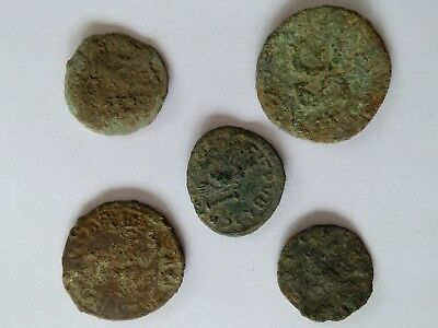 5 Roman coins Ancient Roman Empire Uncleaned Lot#2