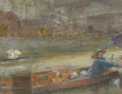 Renee Young - 20th Century Oil, Expressive Fisherman and Boat