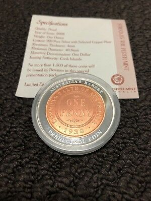 2008 $1 The 1930 Australian Penny 1oz 999 Silver Proof Coin , Cook Islands