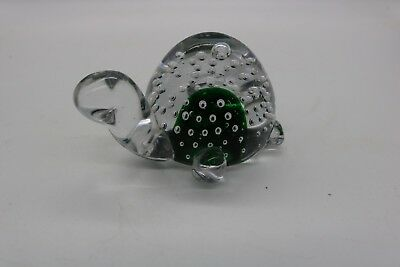 Turtle Glass Paperweight Art Glass Controlled Bubble Green Inside