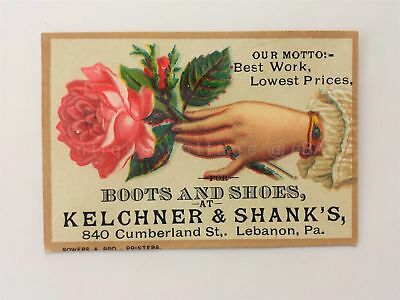 1880s antique KELCHNER & SHANK'S BOOTS and SHOES lebanon pa VICTORIAN TRADE CARD