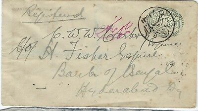 India States Hyderabad 5a stationery envelope registered internally