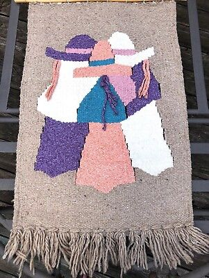Beautiful Large Southwestern Hand Woven Wool Fringed Rug Wall Art Hanging 46X27