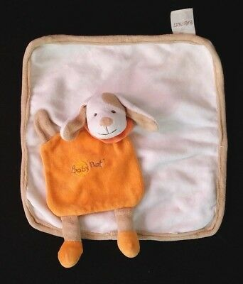 Doudou plat Chien blanc beige orange BABY NAT BN-15