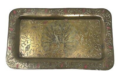 Vintage Peacock Solid Brass Tray Trinket Dish Etched Floral Color Rectangle 229