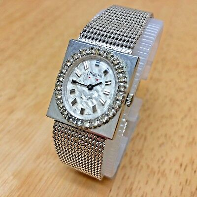 Vintage Hilton Lady 17J White Gold Tone Diamond Accent Hand-Winding Watch Hours