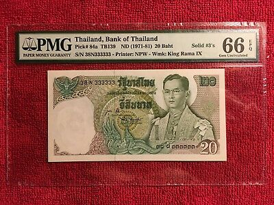 """Thailand Banknote Pick #84a 20 Baht **SOLID 3""""S ** PMG 66 EPQ"""