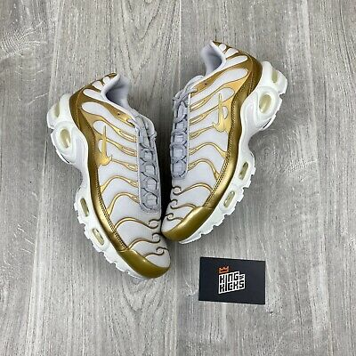 Details about Nike Air Max Plus TN White Gold Women's running Shoes 605112 054 US Size 7 EU 38