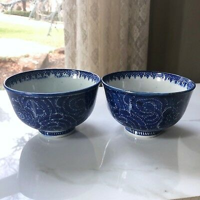 2 Antique Chinese Porcelain Blue White Bowls Dish Flowers Interior Marked Pair